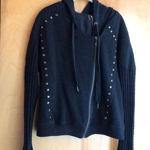 Free People Asymmetrical Zip Studded Moto sweater
